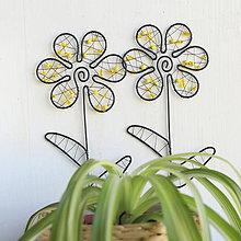 Dekorácie - kvet do kvetináčika (Žltá) - 10403255_