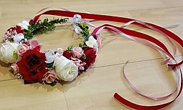 Ozdoby do vlasov - Svadobná parta venčeková v červeno-ružovej - 10404354_