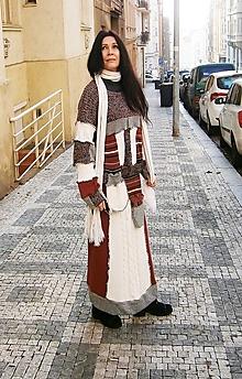 Šaty - LEL svetro maxi šaty karamelovo kremove - 10402782_