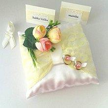 Prstene - Vankúšik na prstienky Čipka a kvety - 10404040_