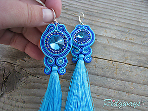 Náušnice - Tassels collection...soutache (Bermuda Blue) - 10402607_
