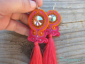 Náušnice - Tassels collection...soutache (Orange/Fuchsia/Coral) - 10402638_