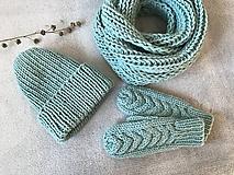 Čiapky - Čiapka, nákrčník a rukavice. (Mint) - 10403933_