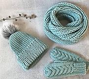 Čiapky - Čiapka, nákrčník a rukavice. (Mint) - 10403934_