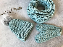 Čiapky - Čiapka, nákrčník a rukavice. (Mint) - 10403935_