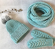 Čiapky - Čiapka, nákrčník a rukavice. (Mint) - 10403936_