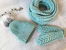Čiapky - Čiapka, nákrčník a rukavice. (Mint) - 10403937_