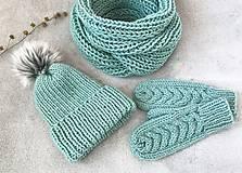 Čiapky - Čiapka, nákrčník a rukavice. (Mint) - 10403938_