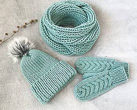 Čiapky - Čiapka, nákrčník a rukavice. (Mint) - 10403939_