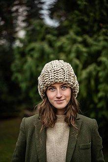 Čiapky - Chunky čiapka Katarina (Béžová) - 10402013_