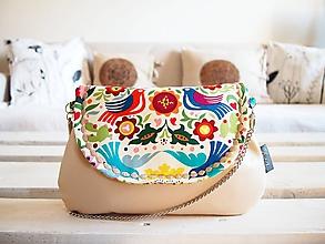 Kabelky - Pestrofarebná folk kabelka s béžovou koženkou - 10404270_