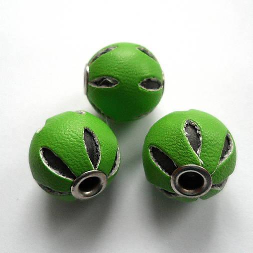 Gule opletené kožou 14mm-1ks (zelená)