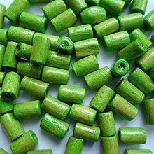 Korálky - Drevený valček 8x4mm-10g (sv.zelená) - 10405516_