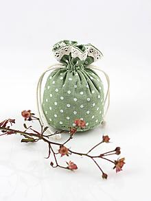 Dekorácie - Malé ľanové vrecúško so sušenou levanduľou - 10403664_
