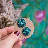 Turquoise green baldachins - vyšívané puzety