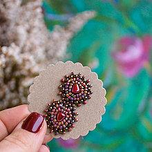 Náušnice - Velvet rose baldachins - vyšívané puzety - 10402660_