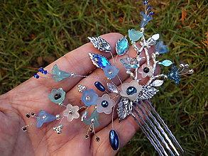 Ozdoby do vlasov - hrebienok do vlasov - modré zvončeky + strieborná - 10402107_