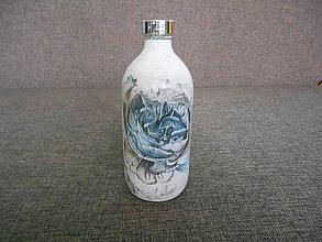 Nádoby - sklenená fľaša - dekupáž - 10403196_