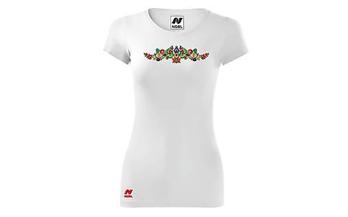 Vyšívané dámske tričko s ľudovým motívom, krátky rukáv