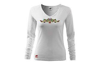 Tričká - Vyšívané dámske tričko s ľudovým motívom, dlhý rukáv - 10404105_