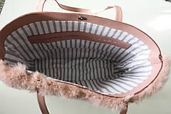 Veľké tašky - Koženo-kožušinová SHOPPER kabelka-PUDROVO-RUŽOVÁ - 10405546_