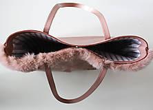 Veľké tašky - Koženo-kožušinová SHOPPER kabelka-PUDROVO-RUŽOVÁ - 10405547_