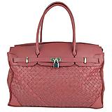 Kabelky - Ručne pletená kožená kabelka v bordovej farbe - 10404248_