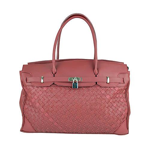 Ručne pletená kožená kabelka v bordovej farbe