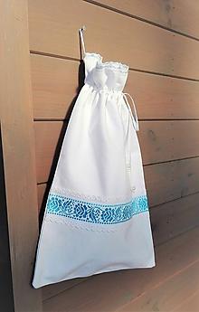 Úžitkový textil - Ľanové vrecko na veľký chlieb belasou cifrované 44 x 27 cm - 10402978_