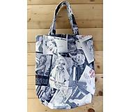 Nákupné tašky - Nákupná taška Z EXTRA PEVNEJ LÁTKY ideálna na nákupy a skladná do kabelky (štýlová Marylin Monroe na šedej) - 10403844_