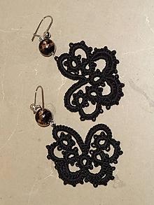 Náušnice - Frivolitkové náušnice - Čierne motýle - 10404636_