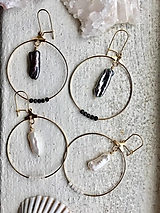 Náušnice - Náušnice z pravých perál Keshi biele/čierne - 10401945_
