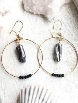 Náušnice - Náušnice z pravých perál Keshi biele/čierne - 10401947_
