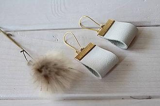 Náušnice - Biele kožené náušnice - Bianca - 10404204_