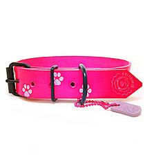 Pre zvieratká - Ružový kožený obojok s fialovými labkami - 10403124_