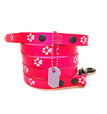 Pre zvieratká - Kožené ružové vodítko s fialovými labkami - 10403136_