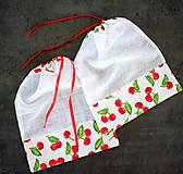 Úžitkový textil - Nákupné vrecúško - čerešne (32x25) (Set 5 vrecúšok) - 10404303_