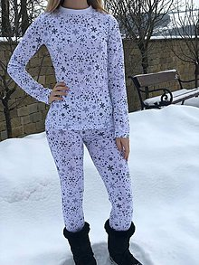 Nohavice - Termo nohavice Snehové vločky - 10403545_