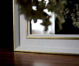 Zrkadlá - Zrkadlo hladké bielo-zlaté - 10405736_
