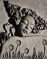 Socha - Sen o lúke plnej kvetov - keramický obraz - 10402158_