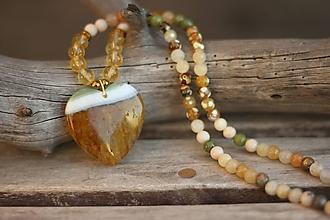 Náhrdelníky - Náhrdelník do krku z minerálov achát, citrín,jadeit - 10402950_