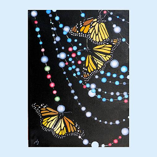 Motýli na korálkovém závěsu - olejomalba na plátně