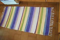 Úžitkový textil - Tkaný koberec fialovo-zeleno-žlto-béžový - 10404046_
