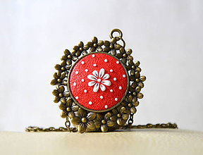 Náhrdelníky - Folk náhrdelník červený - Kvetka - 10409788_