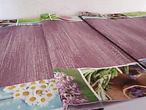 Úžitkový textil - Jarný set  (Stredový obrus 90×40 cm fialová kombinácia a kvetinový lem) - 10406994_