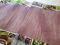Úžitkový textil - Jarný set  (Stredový obrus 90×40 cm fialová kombinácia a kvetinový lem) - 10406996_
