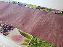 Úžitkový textil - Jarný set  (Stredový obrus 90×40 cm fialová kombinácia a kvetinový lem) - 10406998_