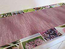 Úžitkový textil - Jarný set  (Stredový obrus 90×40 cm fialová kombinácia a kvetinový lem) - 10407003_