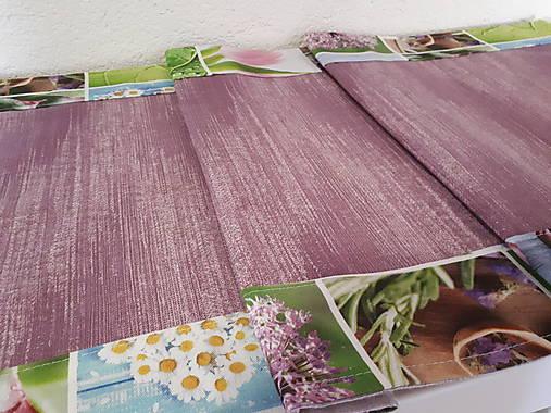 Jarný set  (Stredový obrus 90×40 cm fialová kombinácia a kvetinový lem)