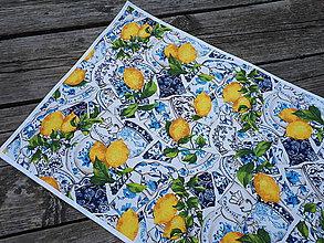 Úžitkový textil - Sada s kachličkami (Stredový obrus s bavln.bielym lemom 136×40 cm) - 10409387_